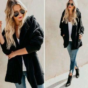 Stunning_29 Jackets & Coats - 🆕️BLACK PLUSH TEDDY L/S HOODED JACKET